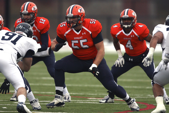Ali Marpet, 55, in action for Hobart College, expects to go in the first four rounds of the NFL Draft. (Kevin Colton/Hobart College)