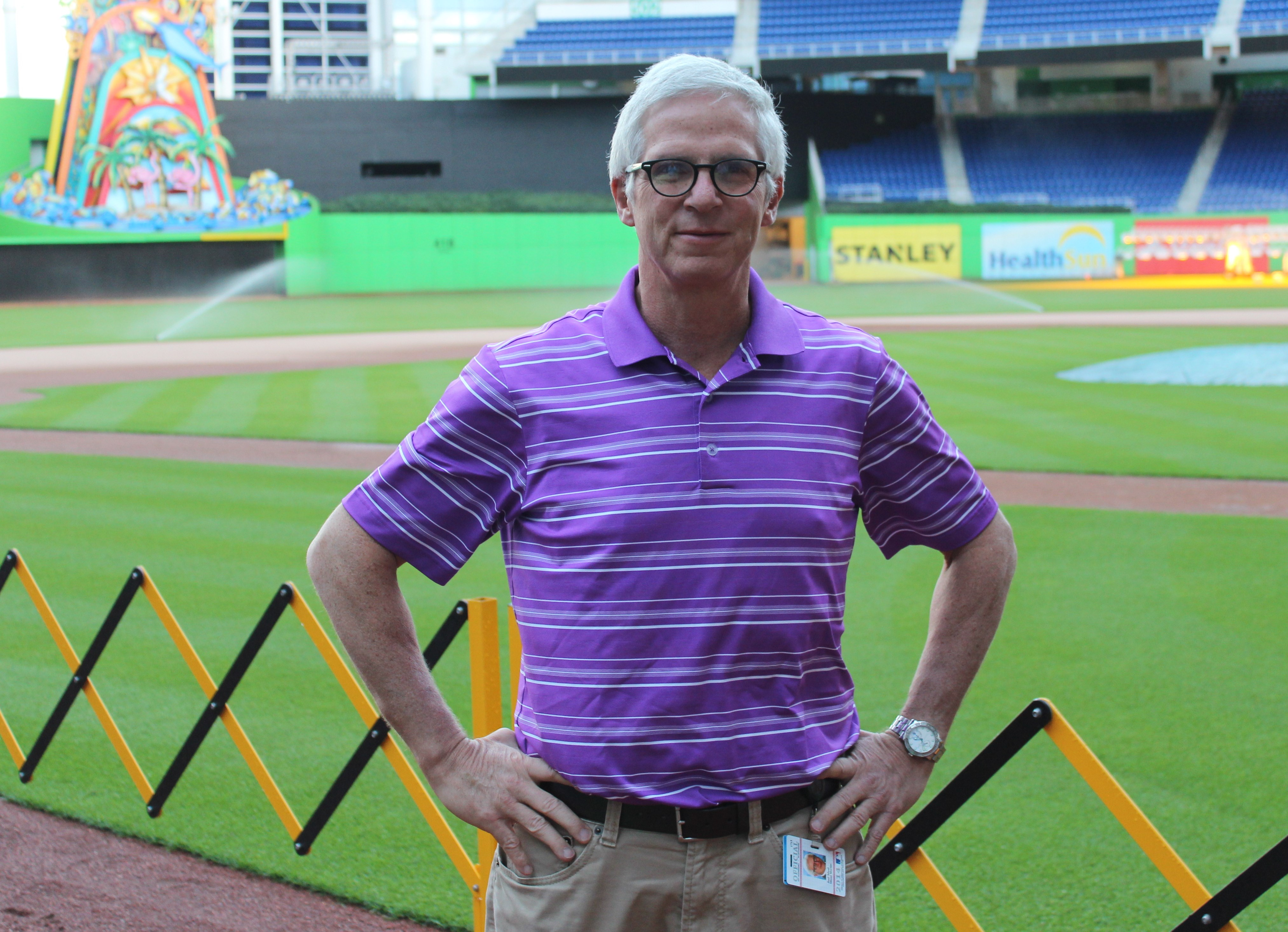 Joel Mael, seen at Marlins Park in Miami, sees long-term success for his club with its new money philosophy. (Hillel Kuttler)