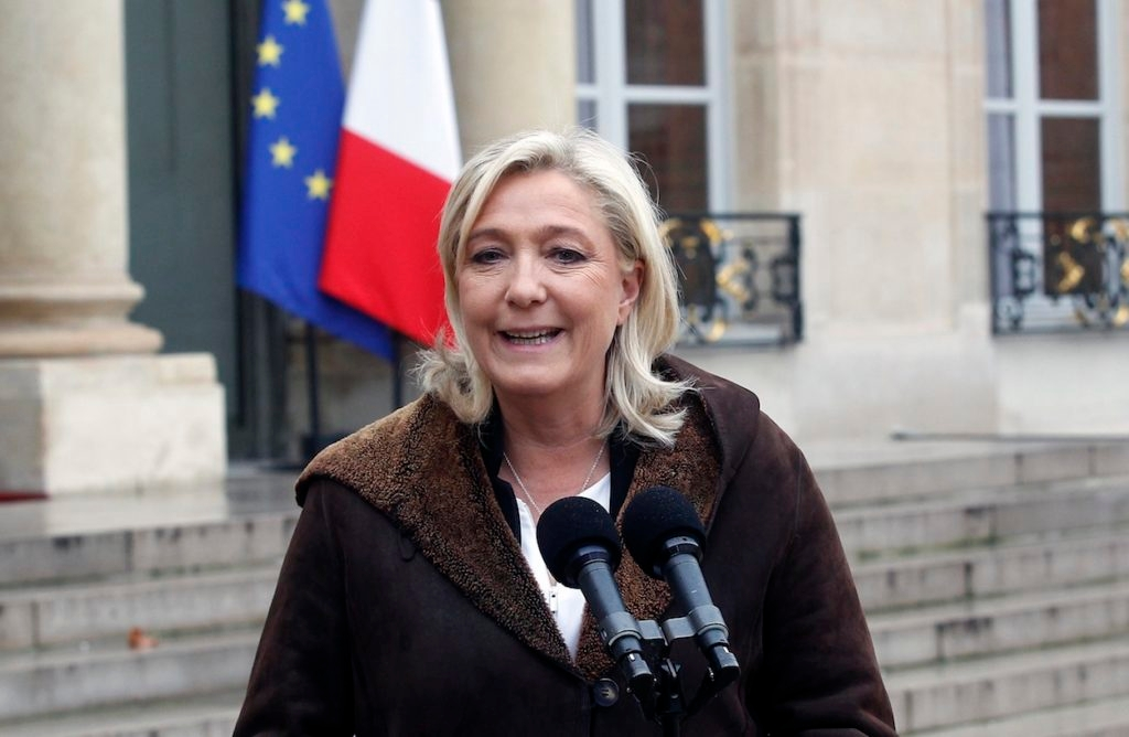 National Front leader Marine Le Pen talking to reporters after a meeting with French President Francois Hollande, January 9, 2015. (Thierry Chesnot/Getty Images)