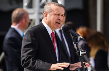 Turkish President Recep Tayyip Erdogan speaks during the Turkish International Ceremony at Mehmetcik Abidesi Martyrs Memorial on April 24, 2015, near Seddulbahir Turkey. (Carsten Koall/Getty Images)