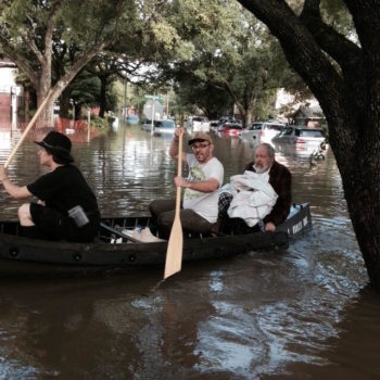 Rabbi Joseph Radinsky, rabbi emeritus of United Orthodox Synagogues of Houston, was among those who had to be rescued from their homes by watercraft after Houston was hit with heavy flooding, May 26, 2015. (Facebook)