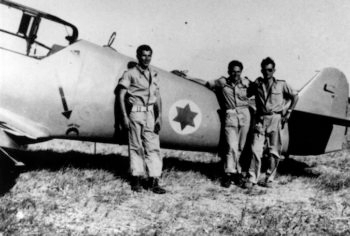 Lou Lenart and other fighter pilots in front of Avia-S-199 plane. Courtesy of Boaz Dvir)