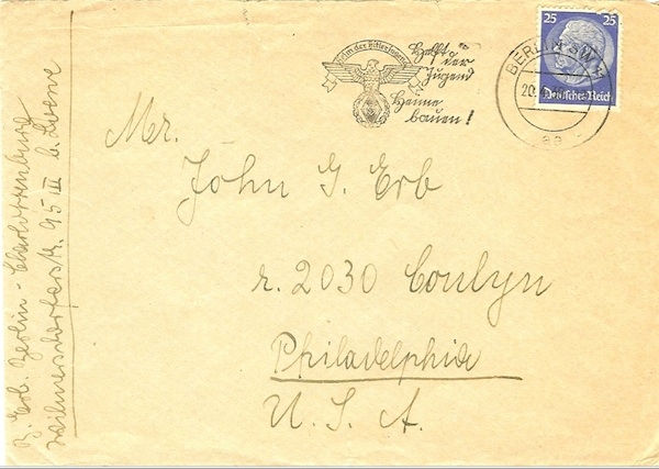 Betty Erb's letter seeking help in escaping the Nazis.