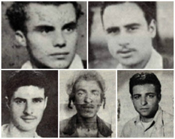 Five of the seven (clockwise from top left): Kalman Salonikov, Simcha Cohen, Nissim Laub, Shimon Balas and Mordechai Cohen. (Israel Ministry of Defense)