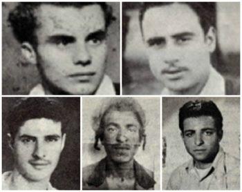 Five of the seven (clockwise from top left): Kalman Salonikov, Simcha Cohen, Nissim Laub, Shimon Balas and Mordechai Cohen. (Israel Ministry of Defense)