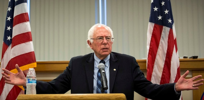 Bernie Sanders speaking at a town hall meeting at the International Brotherhood of Electrical Workers Local Union 26 office in Lanham, Maryland on May 5, 2015. (Drew Angerer/Getty Images)