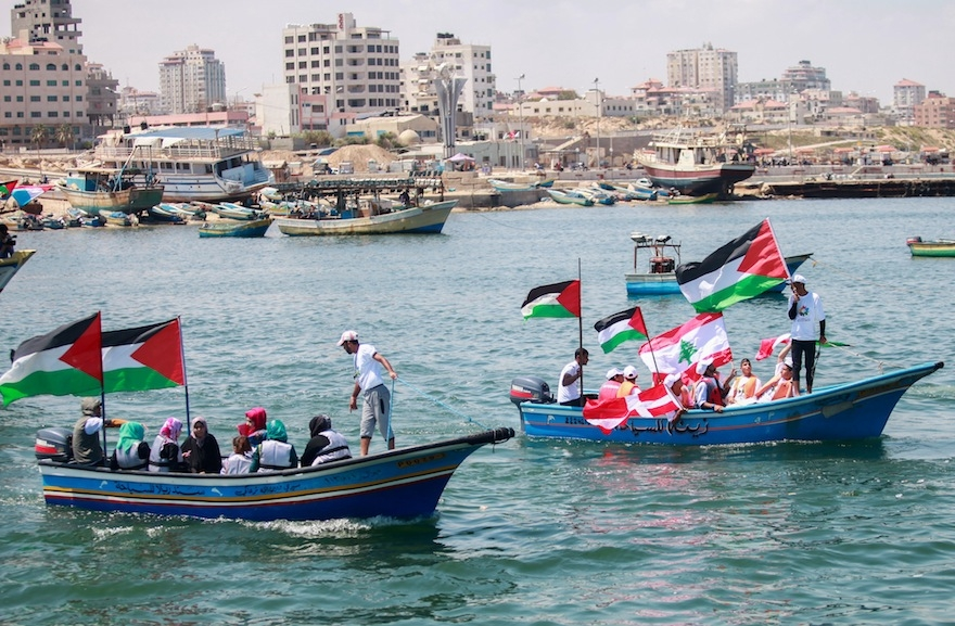 Gazans mark the fifth anniversary of the Mavi Marmara Gaza flotilla at the Gaza City seaport on May 31, 2015. (Aaed Tayeh/Flash90)
