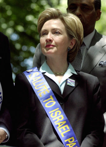 Then-U.S. senate candidate and First Lady Hillary Rodham Clinton standing at the Israel Day parade in New York on June 4, 2000. (Chris Hondros/Newmakers/Getty Images)