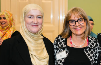 Julie Siddiqi, left, and Laura Marks at the Jewish Museum in Camden on June 9. (Yakir Zur)