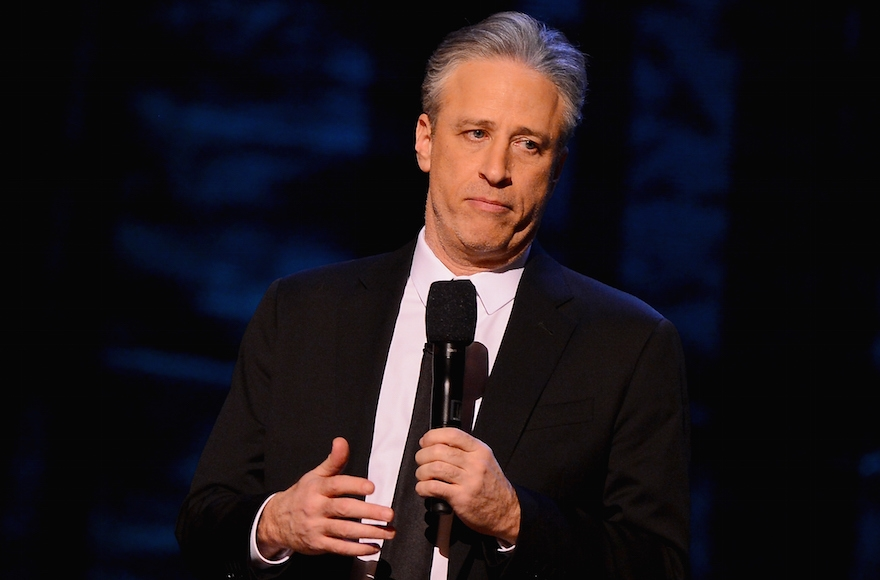 Jon Stewart on stage at Comedy Central's Night Of Too Many Stars at the Beacon Theatre in New York City on February 28, 2015. (Stephen Lovekin/Getty Images for Comedy Central)