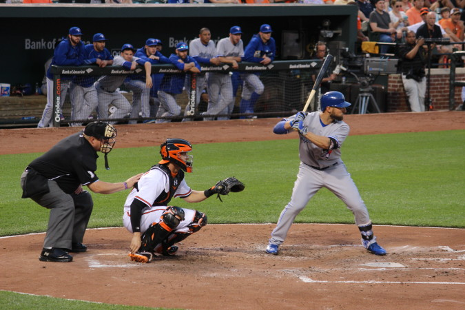 Kevin Pillar, shown hitting against the Baltimore Orioles in a game on May 12, 2015, has shown his prowess at bat and in the field this season for the Toronto Blue Jays.