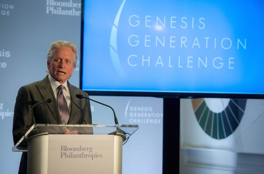 Michael Douglas speaking at the announcement of the Genesis Generation Challenge winners at the Bloomberg Philanthropies headquarters in New York City on April 28, 2015. (Flickr)