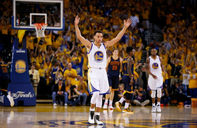 Stephen Curry of the Golden State Warriors celebrates during Game Two of the 2015 NBA Finals at ORACLE Arena in Oakland, California on June 7, 2015. (Ezra Shaw/Getty Images)