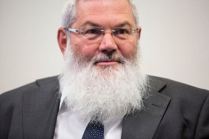 Outgoing deputy minister Rabbi Eli Ben-Dahan seen at a ceremony for replacing of minister, held at the Ministry of Religious Affairs in Jerusalem, May 18, 2015. (Yonatan Sindel/Flash90)