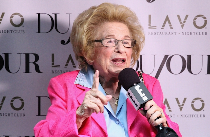 Dr. Ruth celebrating Kendall and Kylie Jenner's Bruce Weber photo shoot on August 28, 2014 in New York City. (Astrid Stawiarz/Getty Images for DuJour Magazine)
