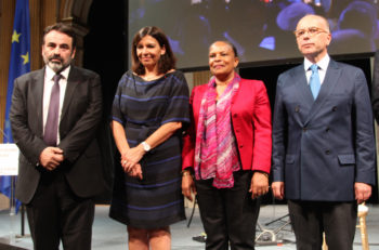 Consistoire President Joel Mergui, left, with Paris Mayor Anne Hidalgo, French Justice Minister Christiane Taubira and Interior Minister Bernard Cazeneuve at a gala dinner held at Hotel de Ville, Paris, on June 29, 2015. (Alain Azria)