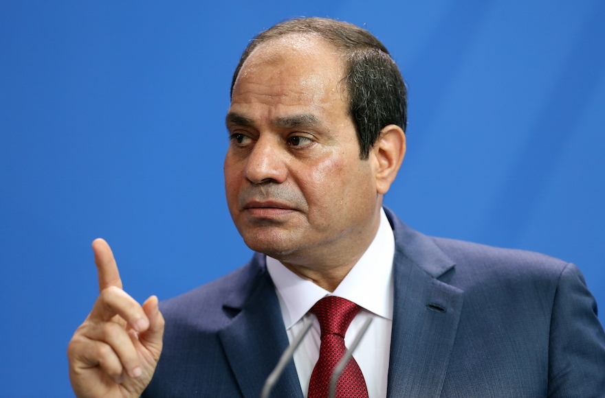 Egyptian President Abdel Fattah el-Sisi speaks during a news conference with German Chancellor Angela Merkel (unseen) in Berlin, Germany on June 3, 2015. (Adam Berry/Getty Images)
