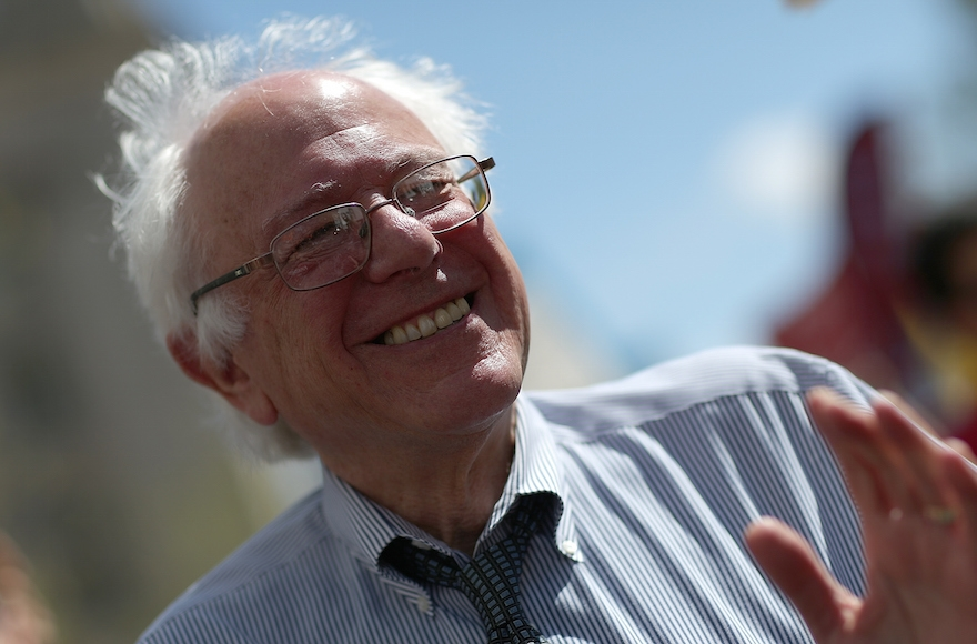 Bernie Sanders smiling at a march in Washington, DC, April 20, 2015. (Win McNamee/Getty Images)