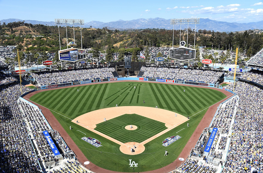A view of Dodger Stadium on Opening Day, April 6, 2015. (Harry How/Getty Images)