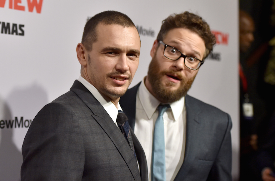 Actors James Franco (left) and Seth Rogen at the premiere of