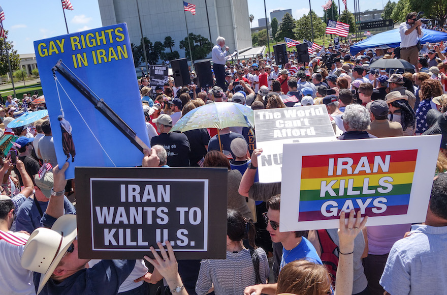 Hundreds turned out for a protest in Los Angeles against the Iran nuclear deal, July 26, 2015. (Peter Duke)
