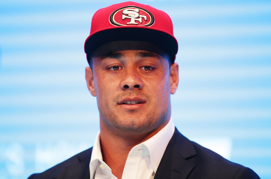 Jarryd Hayne speaking at a press conference at the Telstra Amphitheatre in Sydney, Australia March 3, 2015. (Matt King/Getty Images)