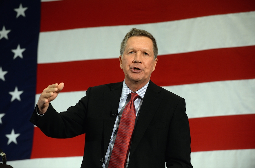 Ohio Gov. John Kasich speaks at the First in the Nation Republican Leadership Summit, April 18, 2015, in Nashua, New Hampshire. (Darren McCollester/Getty Images)
