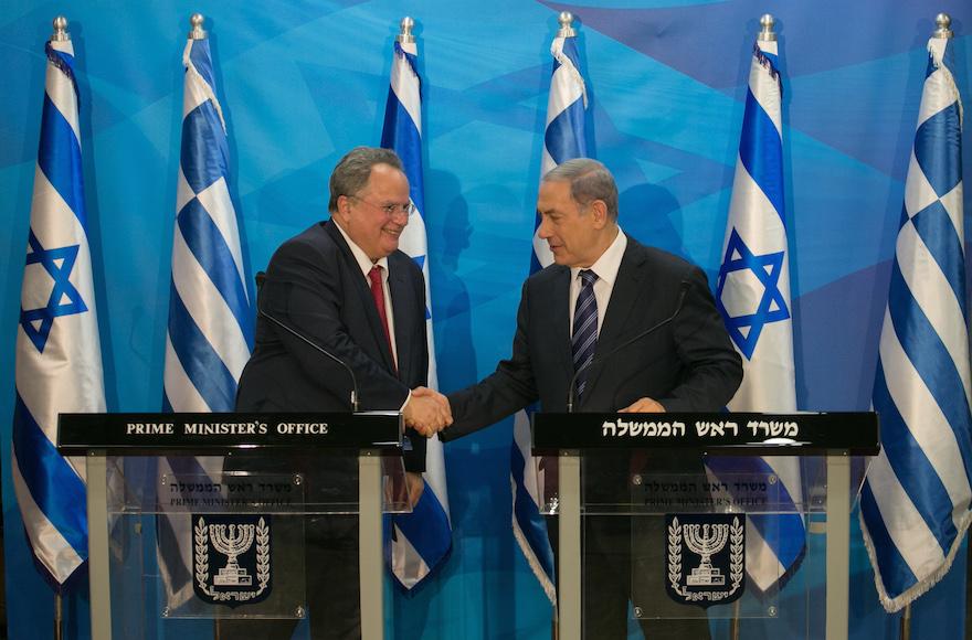 Greek fm thanks israel for concern over economic crisis jewish israeli prime minister benjamin netanyahu right greeting greek foreign minister nikolaos kotzias at a m4hsunfo