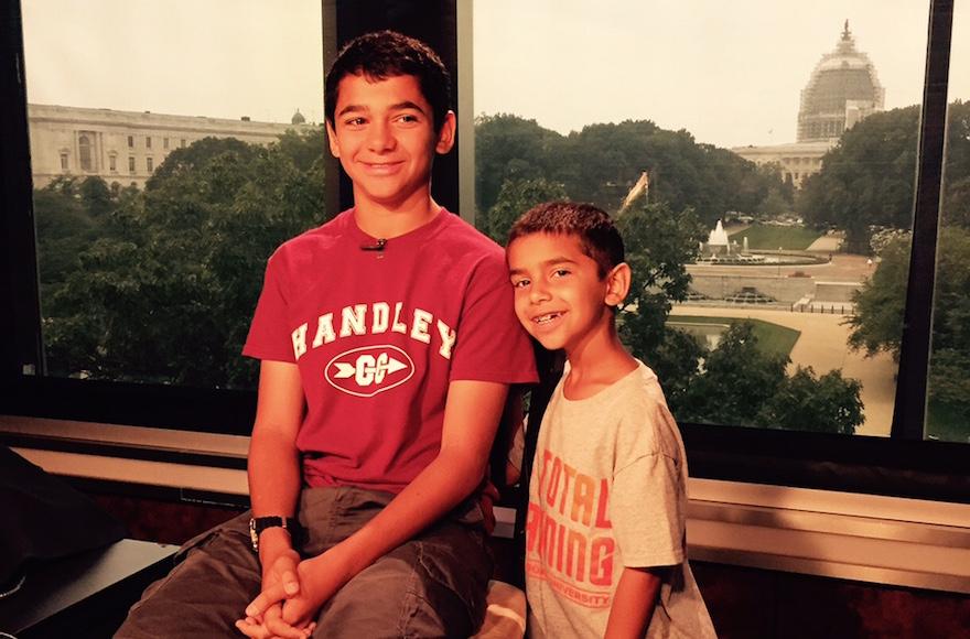 Joseph Rosenfeld, left, and his younger brother, Adam, visit the Fox & Friends studio in New York on Wednesday, July 8. (Scott Rosenfeld)