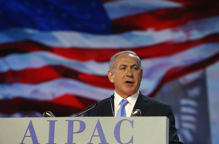 Israeli Prime Minister Benjamin Netanyahu, speaking at this year's AIPAC conference, March 2, 2015. AIPAC is following Israel in rejecting the nuclear deal with Iran.