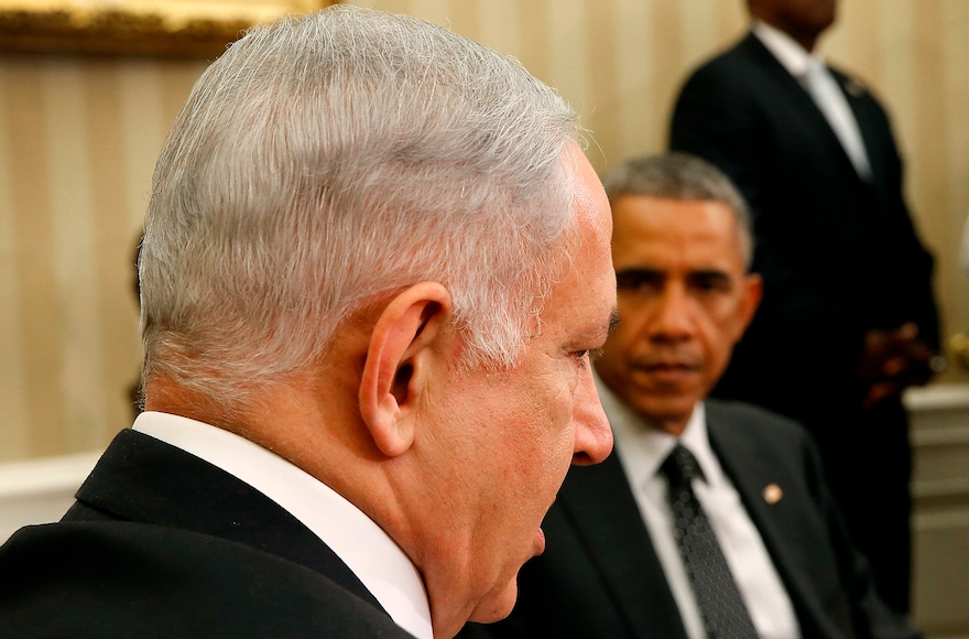 U.S. President Barack Obama (R) meets with Israeli Prime Minister Benjamin Netanyahu (L) in the Oval Office of the White House, October 1, 2014, in Washington, D.C. (Win McNamee/Getty Images)
