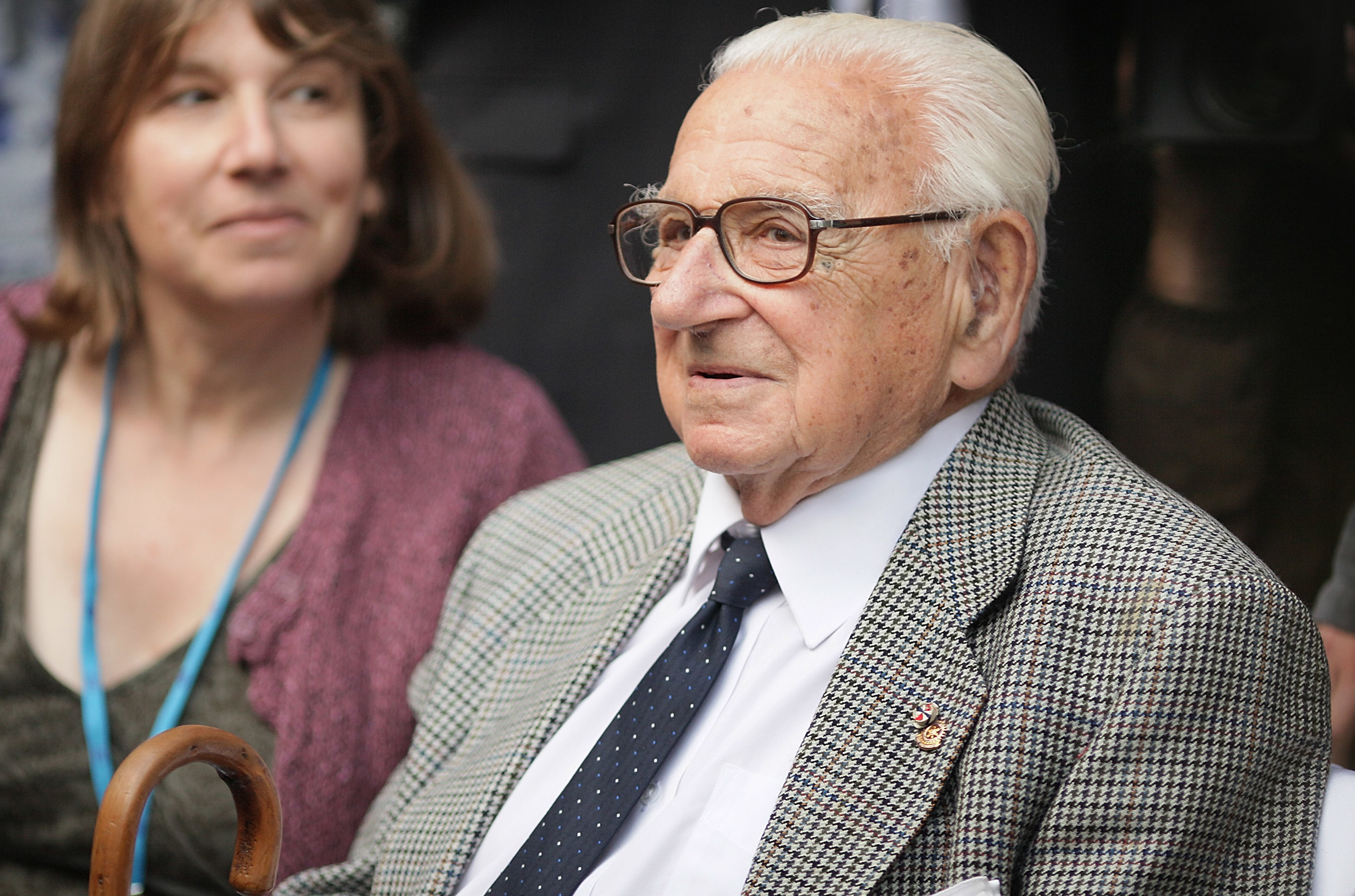 Nicholas Winton waits to greet his surviving evacuees at Liverpool Street railway station on September 4, 2009, in London, England. (Peter Macdiarmid/Getty Images)