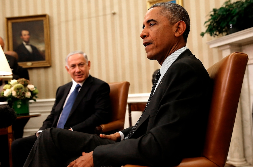 President Barack Obama (R) meets with Israeli Prime Minister Benjamin Netanyahu (L) in the Oval Office of the White House, October 1, 2014, in Washington, DC. (Win McNamee/Getty Images)