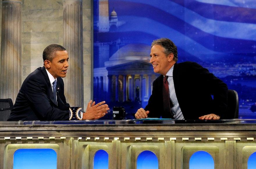 President Barack Obama talking with Jon Stewart on the