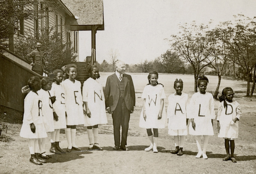 Julius Rosenwald with students from a Rosenwald School (Courtesy of Fisk University, John Hope and Aurelia E. Franklin Library)