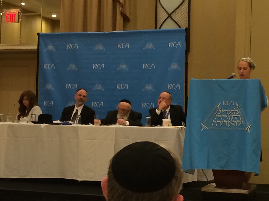 A speaker at a panel at the Rabbinical Council of America's recent annual convention in Tarrytown, New York. (Courtesy of RCA)