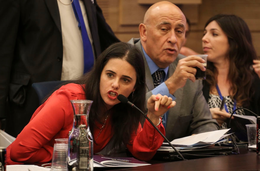 Jewish Home's Ayelet Shaked discussing budgets for Israeli settlements at a meeting of the State Control Committee at the Knesset in Jerusalem, Nov. 10, 2014. (Hadas Parush/Flash90)