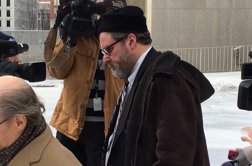 Rabbi Barry Freundel exiting the courthouse after entering his guilty plea, Feb. 19, 2015. (Dmitriy Shapiro)