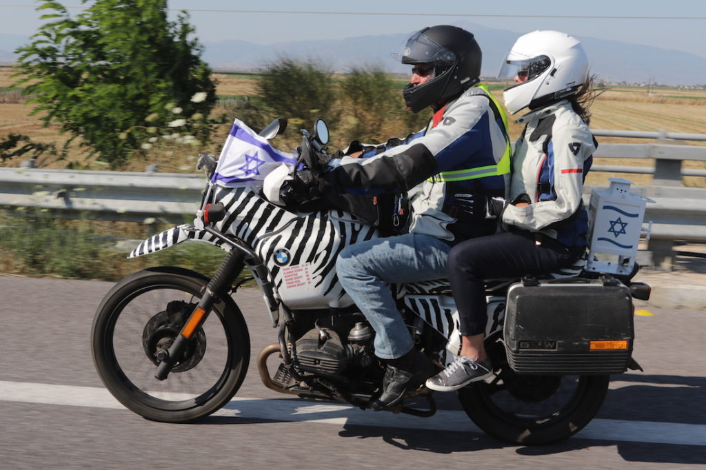 Elen Katz and Catherine Lurie-Alt participating in a motorcycle rally from Israel to Berlin for the opening of the European Maccabi Games. (Yosef Alony)