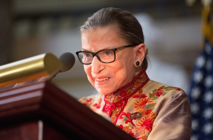 U.S. Supreme Court Justice Ruth Bader Ginsburg speaks at an annual Women's History Month reception hosted by House Minority Leader Nancy Pelosi in the U.S. Capitol building on Capitol Hill in Washington, March 18, 2015. (Allison Shelley/Getty Images)
