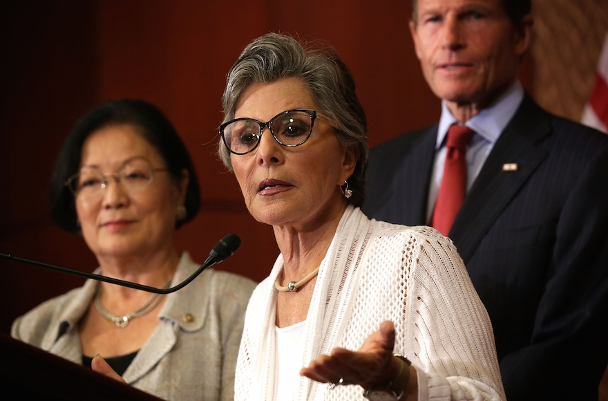 Sen. Barbara Boxer, D. Cal., speaking as Sen. Richard Blumenthal, D-Conn., right, listens during a news conference on Aug. 3, 2015, in Washington, D.C. (Alex Wong/Getty Images)