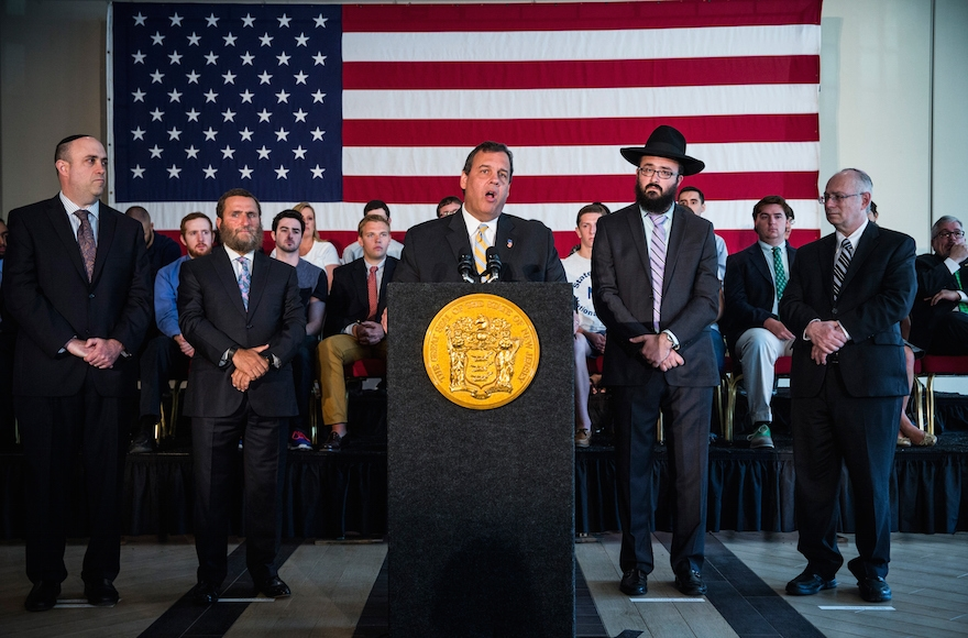 New Jersey Governor and Republican presidential hopeful Chris Christie speaking at Chabad House at Rutgers University to express his opposition to the Iran deal on August 25, 2015, in New Brunswick, New Jersey. (Andrew Burton/Getty Images)