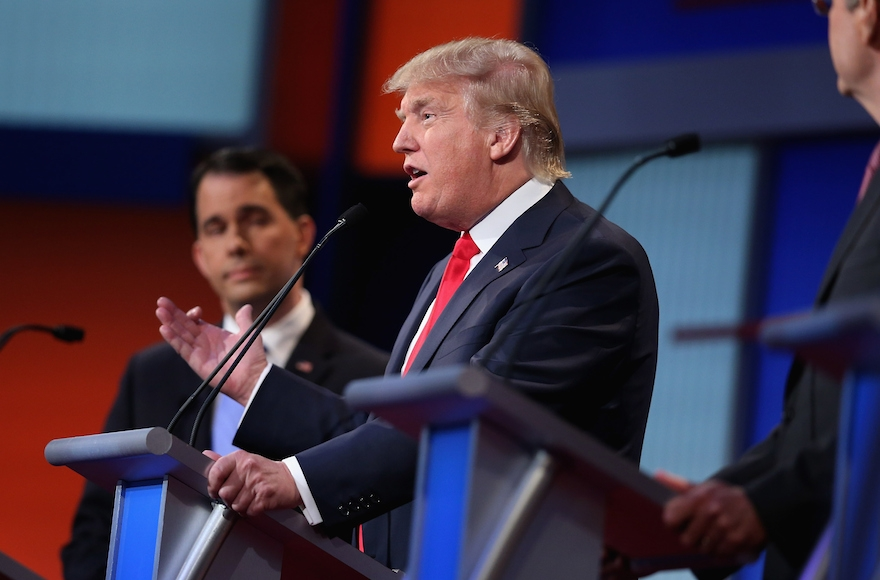 Donald Trump participating in the first Republican presidential debate at the Quicken Loans Arena in Cleveland, Ohio on August 6, 2015. (Scott Olson/Getty Images)