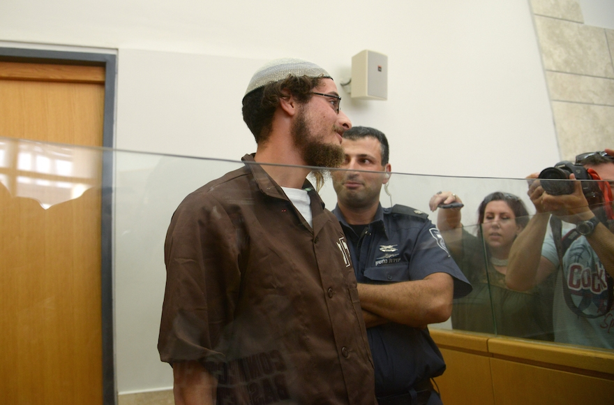 Meir Ettinger, grandson of Rabbi Meir Kahane, seen at Nazareth Magistrate's Court on August 4, 2015. (Basel Awidat/Flash90)