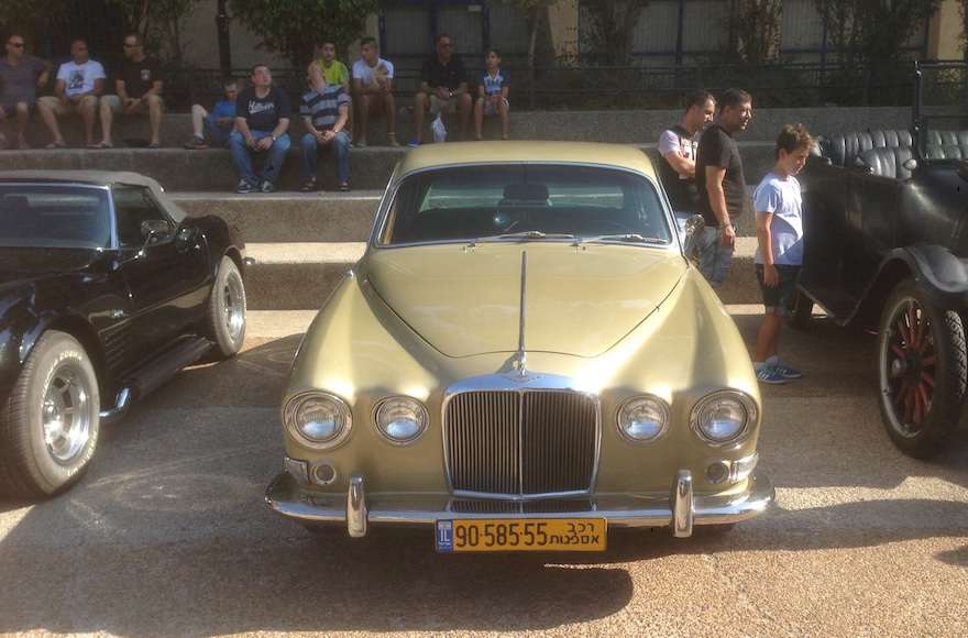 Coby Millo's Jaguar in Ness Ziona, Israel on July 17, 2015. (Gabe Friedman)