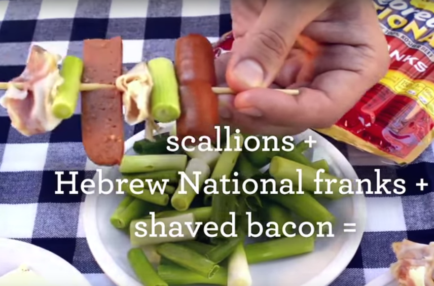"A Hebrew National ad suggesting a recipe, with bacon, for a ""Hog Wild Stack."" (Screenshot: YouTube)"