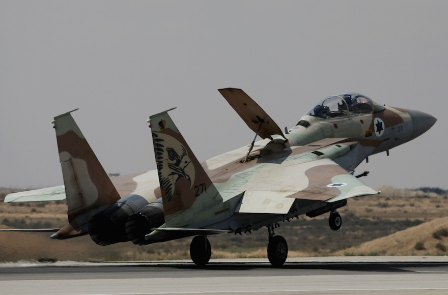 An Israel Air Force F-15 fighter jet lands at the Hatzerim air base, on March 30, 2009, in Hatzerim, Israel. (Uriel Sinai/Getty Images)