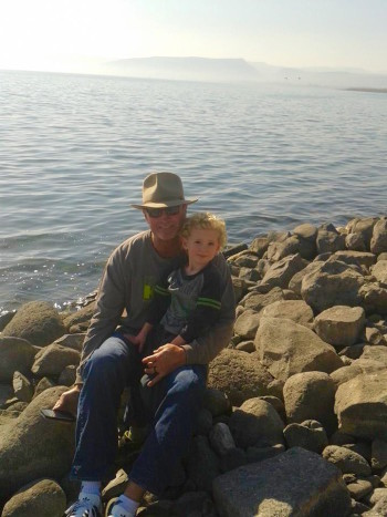 Jerry Narron and grandson Aviel Mitchell at Israel's Sea of Galilee, December 2014. (Callie Mitchell)