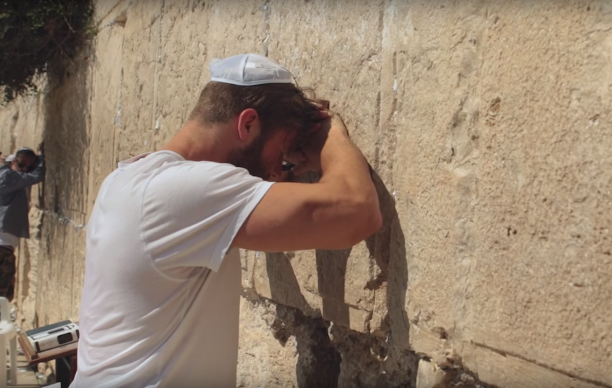Julian Edelman praying at the Western Wall. (YouTube)