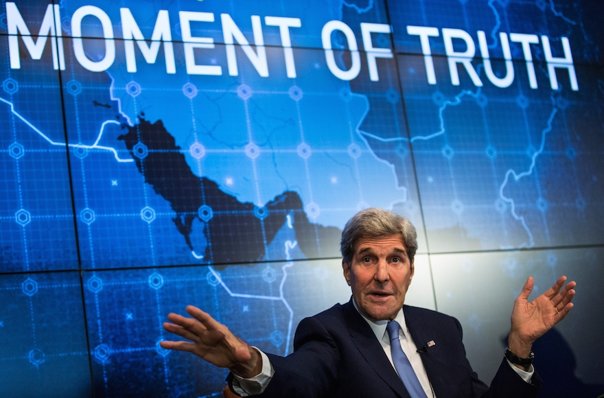 U.S. Secretary of State John Kerry speaking about the Iran Deal on August 11, 2015, in New York City. (Andrew Burton/Getty Images)